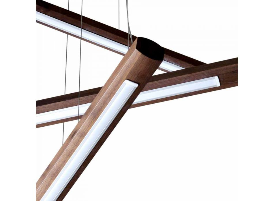 A 4-piece design chandelier in Grilli York wood made in Italy