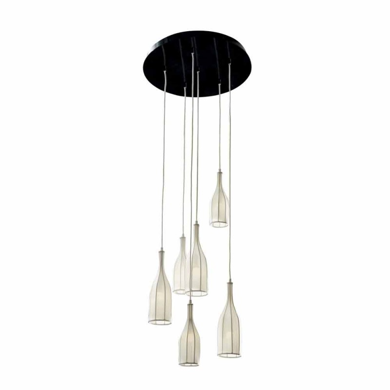 Design chandelier with 6 lampshades Grilli Mathusalem made in Italy