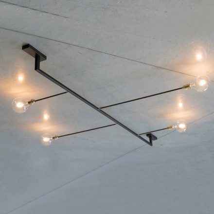 Handmade Design Chandelier in Iron with 4 Lights Made in Italy - Anima