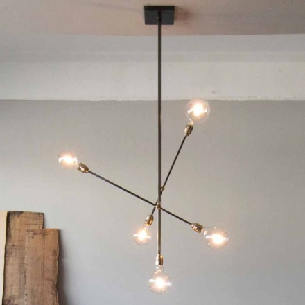 Handmade Iron Chandelier with Adjustable Elements Made in Italy - Ondina
