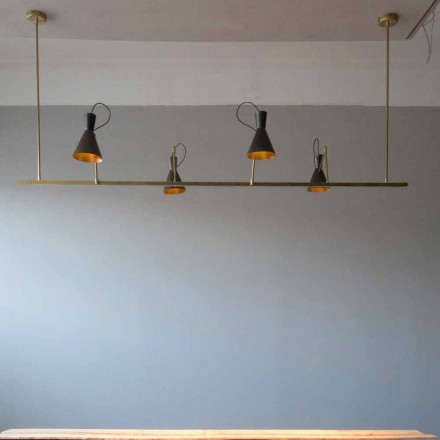 Handmade Chandelier in Natural Brass and Aluminum Made in Italy - Selina