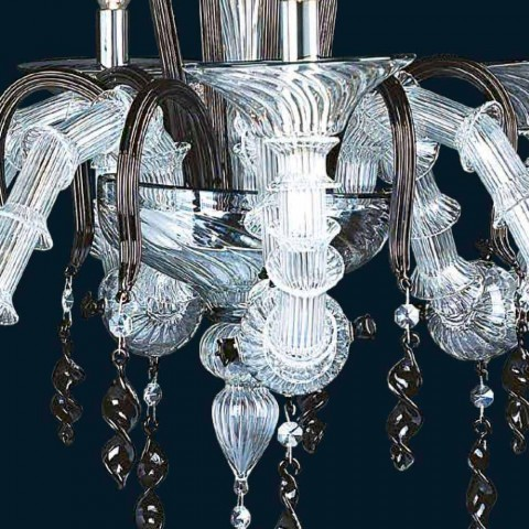 Murano Glass Chandelier 6 Classic Design Lights Made in Italy - Adelasio