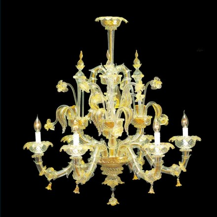 Murano Glass Chandelier Baroque Style Made in Italy – Abbondanza