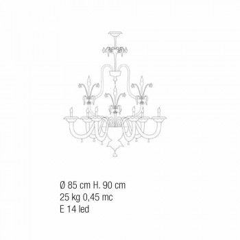 Murano Glass Chandelier Classic Baroque Style Made in Italy - Abundance