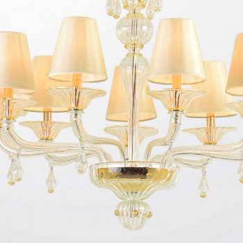 Murano glass chandelier with 6 or 9 lampshades Made in Italy - Raniero