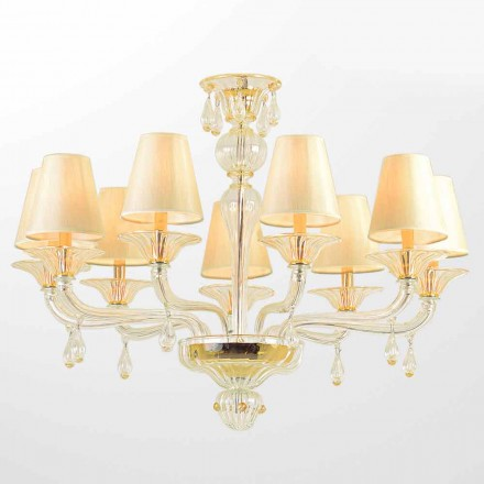 Murano Glass Chandelier with 6 or 9 Lampshades Made in Italy – Raniero