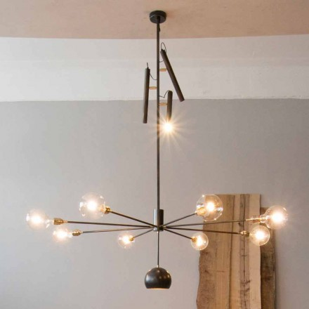 Modern Artisan Chandelier with Iron Structure Made in Italy - Stilla
