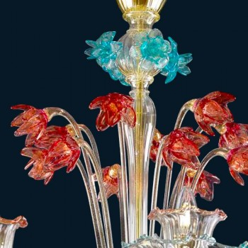 Murano Vintage Chandelier Multicolor 8 Lights Made in Italy - Amaranth
