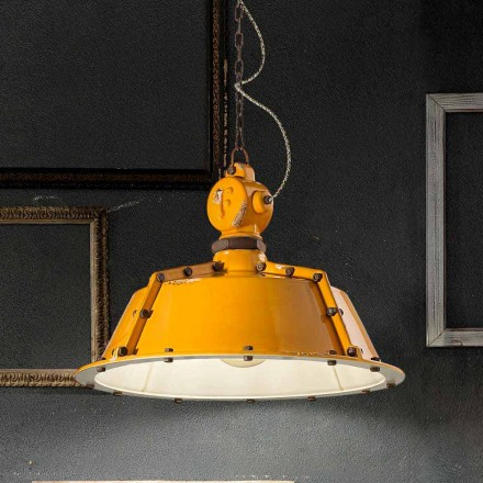 Jillian vintage bell-shaped industrial style chandelier by Ferroluce