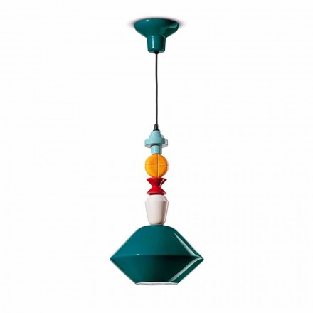 Green or Yellow Ceramic Suspension Lamp Made in Italy - Ferroluce Lariat