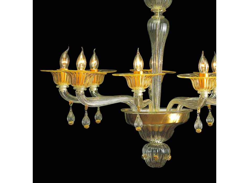 Vintage Murano Glass Chandelier with 9 Lights Made in Italy - Riginaldo