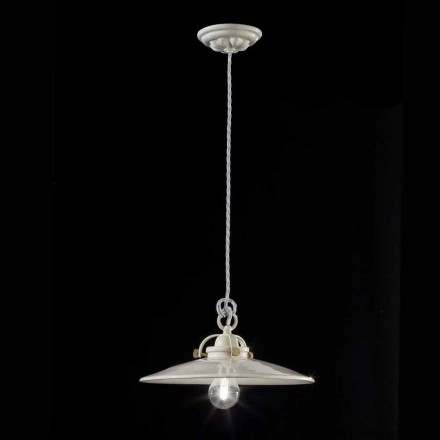 Gloria vintage shiny ceramic industrial chandelier Ferroluce