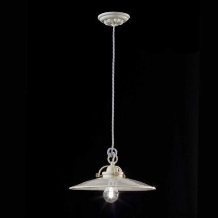 Gloria vintage shiny ceramic industrial chandelier Ferroluce