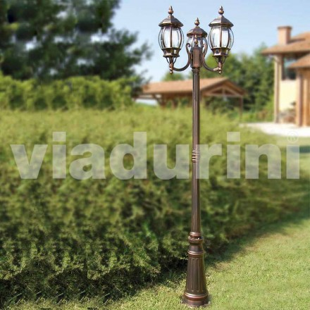 Outdoor three-lights lamppost made with aluminum, made in Italy, Anika