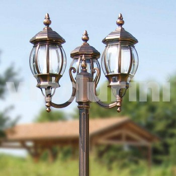 Two-light aluminum street lamp made in Italy, Anika