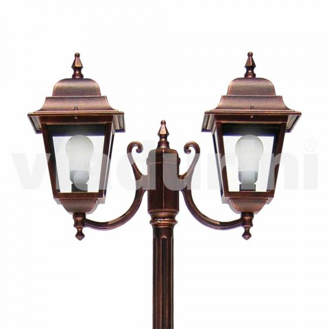 Two-light aluminum street lamp made in Italy, Aquilina