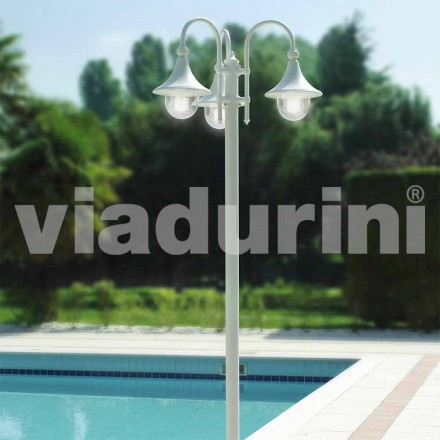 Outdoor three-lights lamppost in white aluminum, made Italy, Anusca