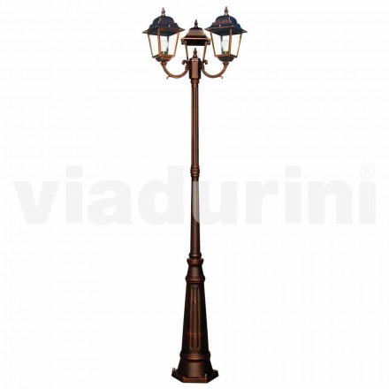 Classic outdoor three-lights lamppost, produced in Italy, Aquilina