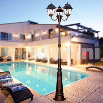 Classic three-light outdoor lamp made in Italy, Aquilina