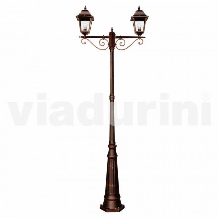 Outdoor classic lamppost made with aluminum, made in Italy, Aquilina
