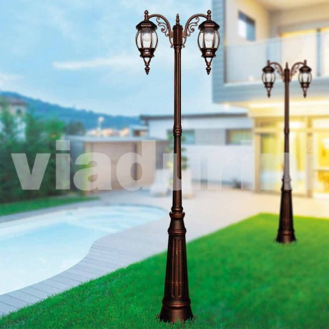 Classic outdoor lamp post in die-cast aluminum made in Italy, Anika