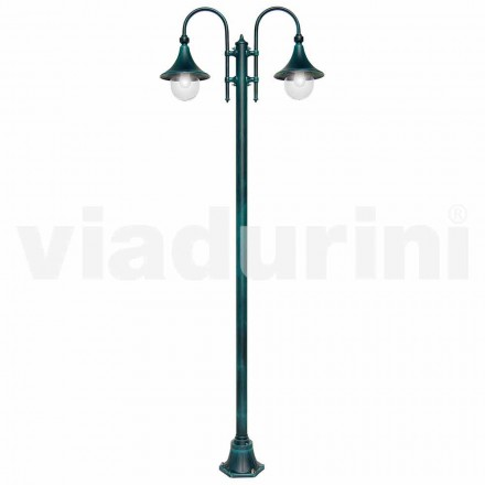 Outdoor two-lights lamppost in die-cast aluminum, made in Italy,Anusca