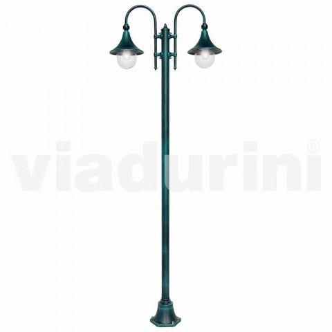 Outdoor lamp made of aluminum with two lights made in Italy, Anusca