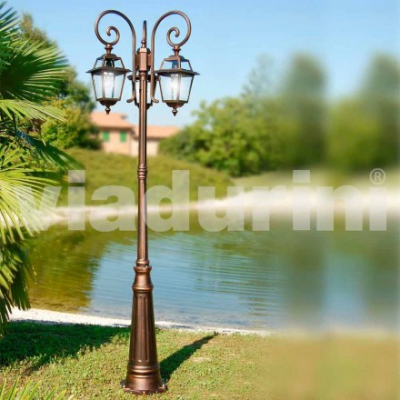 Garden three-lights lamppost made with aluminum, made in Italy,Kristel