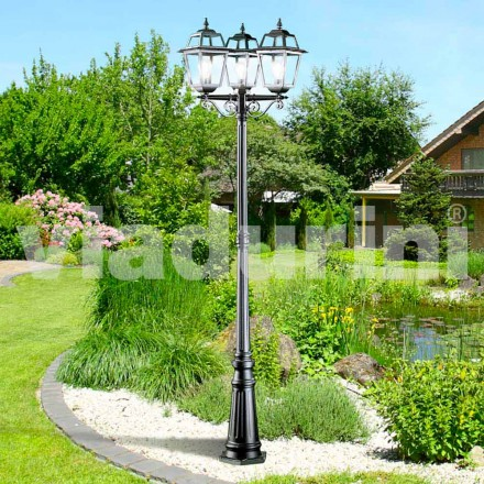 Classic garden three-lights lamppost made with aluminum, Kristel