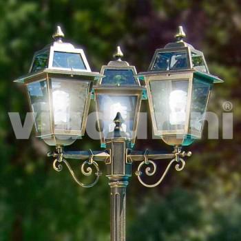 Kristel, three-light classic garden lamp made in Italy