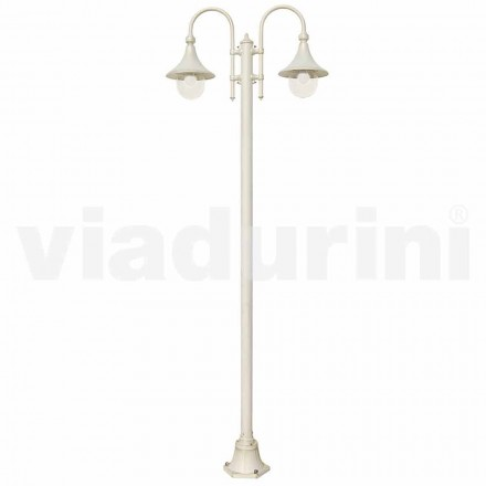 Garden lamppost made with white die-cast aluminum, made Italy, Anusca