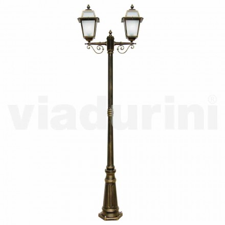 Outdoor two-lights lamppost made with aluminum, made in Italy, Kristel