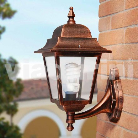 Garden wall lantern made with aluminum, made in Italy, Aquilina