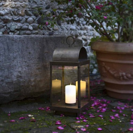 Outdoor iron and brass lantern with candle Il Fanale