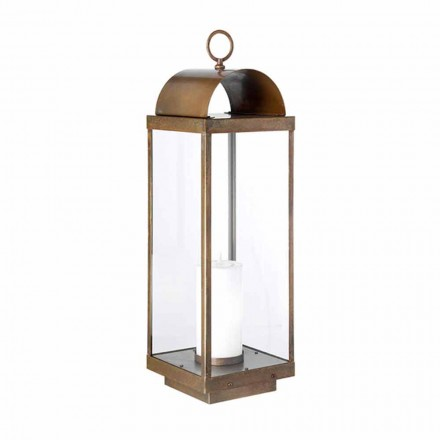 Made in Italy outdoor floor lantern with candle Il Fanale