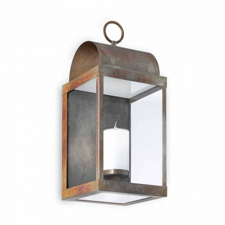 Made in Italy outdoor wall lantern made of brass and iron