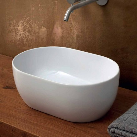Modern design 45x32cm ceramic countertop washbasin made in Italy, Star