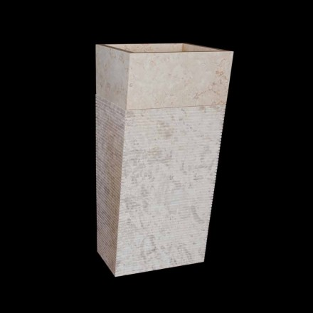 White natural stone freestanding washbasin Cher