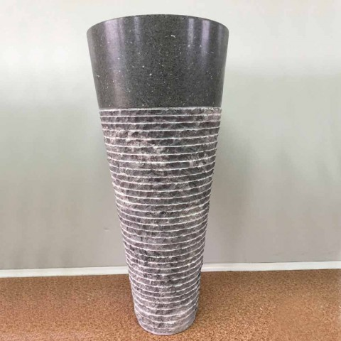 Hand-made andesite Noa stone conical pedestal washbasin