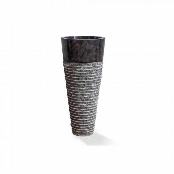 Column Washbasin of Modern Design in Glossy Black Marble - Merlo