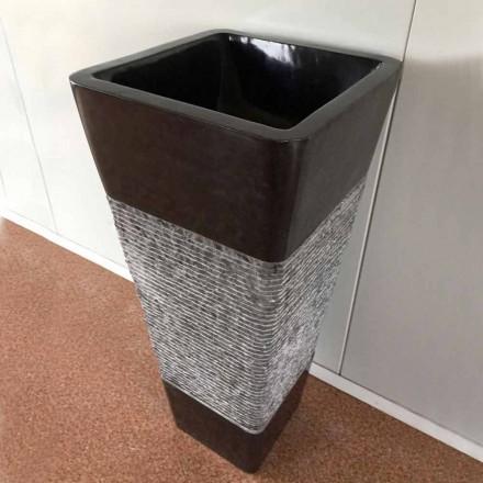Dark grey natural stone freestanding sink of design, unique piece