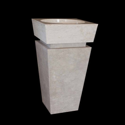 White natural stone freestanding washbasin Sire