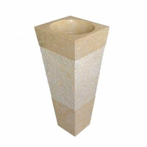 Washbasin Column Pyramid Stone Natural Beige Nias