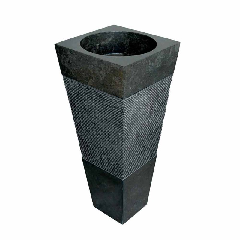 Washbasin Column Pyramid Stone Natural Black Nias