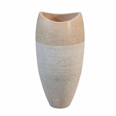 Natural beige stone spherical washbasin Gili