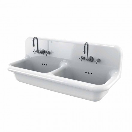 Andy double wall-mounted white ceramic washbasin