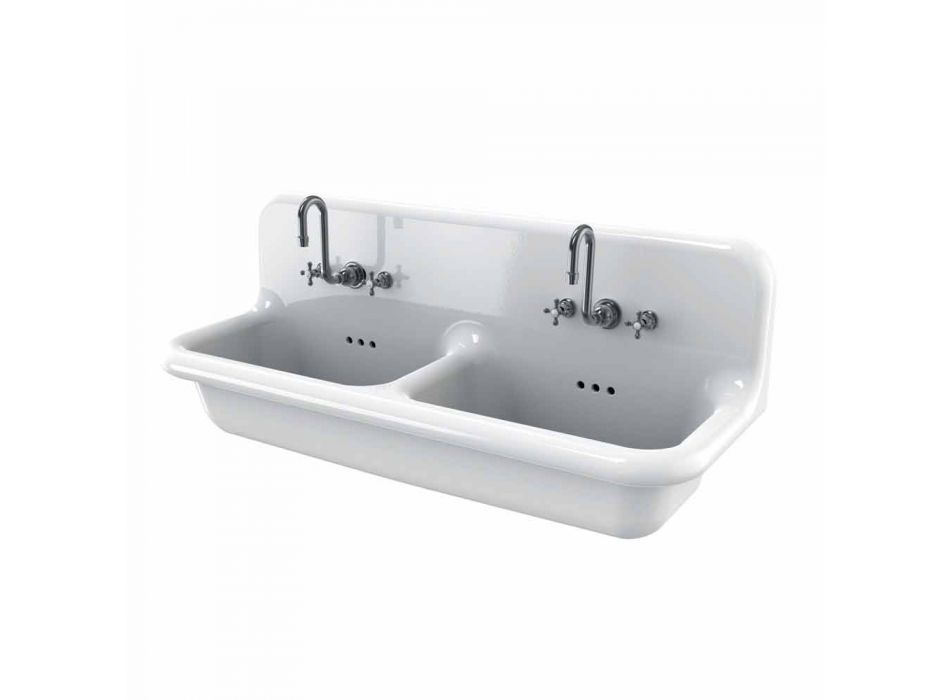 Double wall-mounted white ceramic wall-mounted washbasin Andy modern style