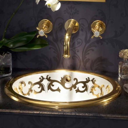 Built-in decorated sink in fire clay and 24k gold made in Italy, Otis