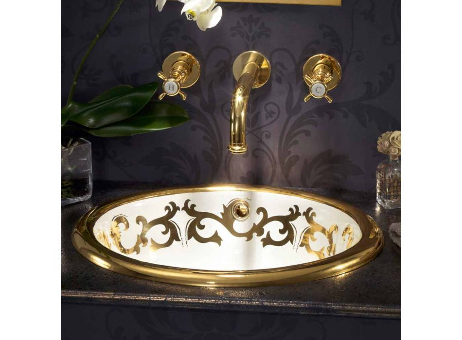 Built-in washbasin decorated in fire clay and gold made in Italy, Otis