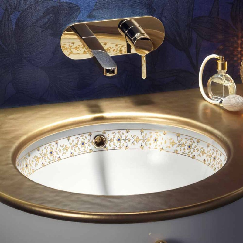 Baroque design built-in sink in fire clay made in Italy, Aegean